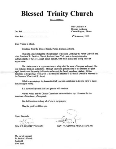 Thank You Letter For Church Donation | Docoments Ojazlink